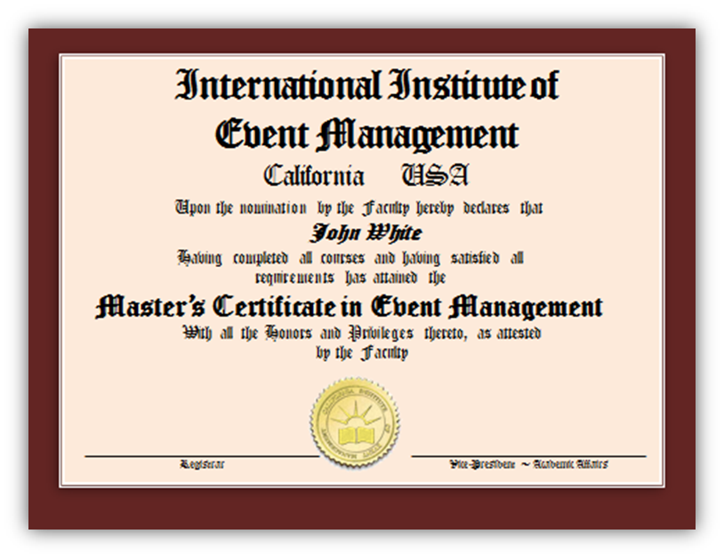 Master's Certificate in Event Management