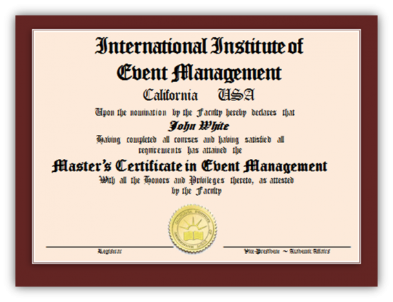 certification in event management study online international